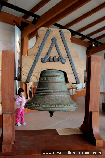 Mission bell at the La Purisima Mission museum.