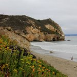 Avila Beach, California - View of the beach and rugged cliffs surrounding Avila Beach.