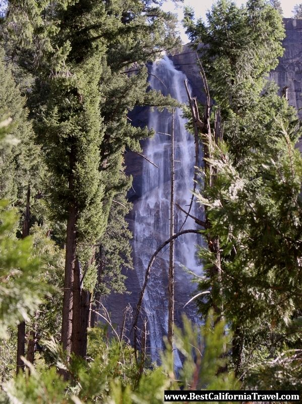 Nevada Fall seen through the forest in mid November.